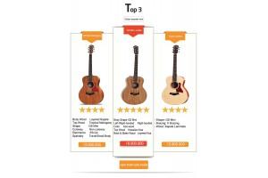 Ba cây đàn guitar acoustic mini Taylor đình đám hiện nay